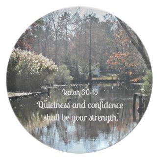 アイザイアの30:15の静けさおよび自信はあります プレート