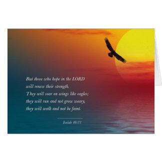 アイザイアの40:31のワシの急上昇した勇気の詩の聖書 カード