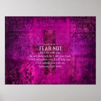 アイザイアの41:10の恐れない、なぜなら私は聖書あなたとあります ポスター