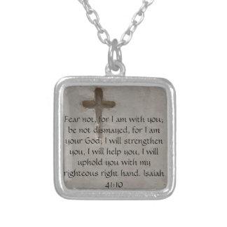 アイザイアの41:10の感動的な聖書の詩 シルバープレートネックレス