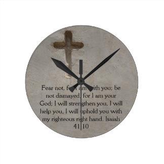 アイザイアの41:10の感動的な聖書の詩 ラウンド壁時計