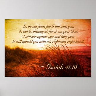 アイザイアの41:10の聖書の詩は私があなたとあることを恐れていません ポスター