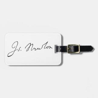 アイザックニュートン署名のサイン ラゲッジタグ