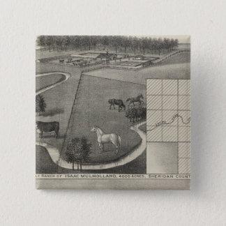 アイザックMulholland牧場および住宅、カンザス 5.1cm 正方形バッジ