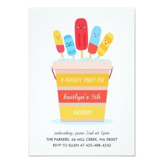 アイスキャンデーのパーティの子供の誕生日のパーティの招待状 カード