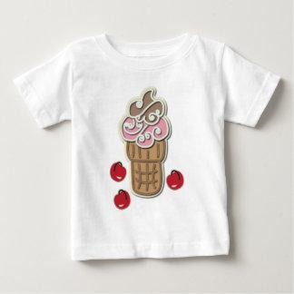アイスクリームおよびさくらんぼ ベビーTシャツ