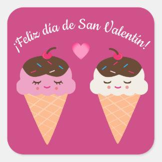 アイスクリームが付いているスペインのなバレンタインデーのステッカー スクエアシール