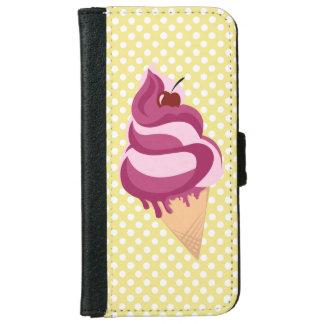 アイスクリームのデザインのレトロの場合 iPhone 6/6S ウォレットケース