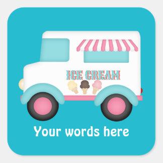 アイスクリームのトラックは単語のステッカーを加えます スクエアシール