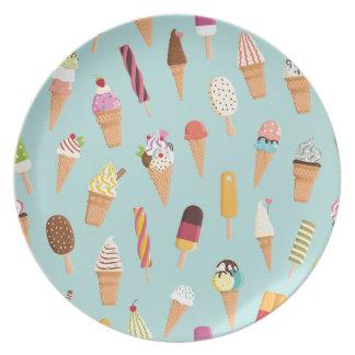 アイスクリームのパステル プレート