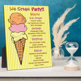 アイスクリームのパーティのカスタムメニュー フォトプラーク