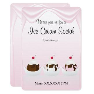 アイスクリームのパーティーの社会的なカスタムな招待状 カード