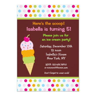 アイスクリームのパーティーの誕生日の招待状のアイスクリーム カード
