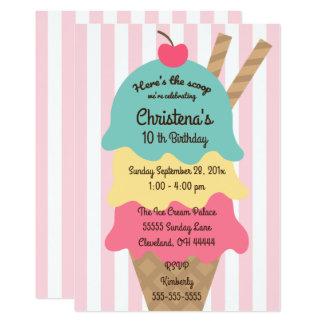 アイスクリームの社会的な誕生日のパーティの招待状 カード