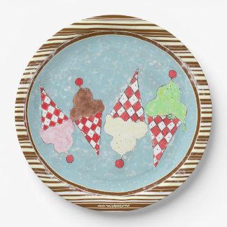 アイスクリームは縞で飾ります ペーパープレート
