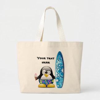 アイスクリームを持つサーファーのペンギン ラージトートバッグ