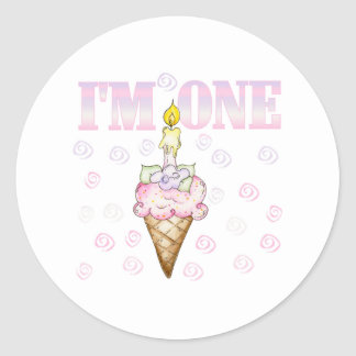 アイスクリームコーンのケーキ私は1才です ラウンドシール