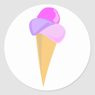 アイスクリームコーンのステッカー ラウンドシール