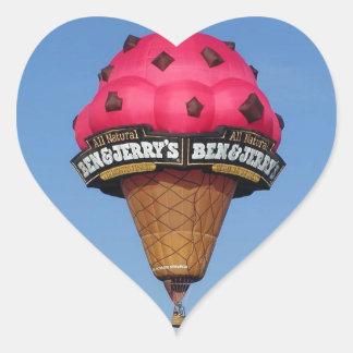 アイスクリームコーンの熱気の気球 ハートシール