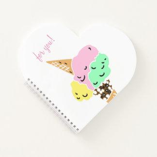 アイスクリーム愛日記のかわいらしいハートのノート ノートブック
