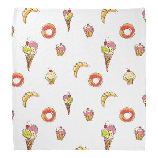 アイスクリーム、ドーナツ及びカップケーキのデザイン バンダナ
