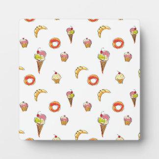 アイスクリーム、ドーナツ及びカップケーキのデザイン フォトプラーク
