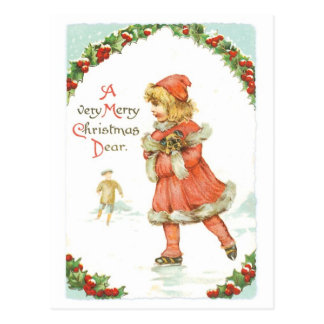 アイススケートしているクリスマスの女の子 ポストカード