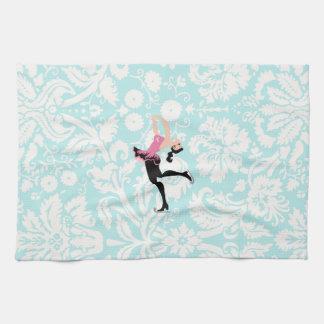 アイススケートするティール(緑がかった色)のダマスク織パターン キッチンタオル