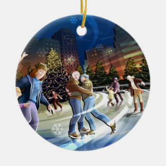アイススケートのクリスマスのオーナメント セラミックオーナメント
