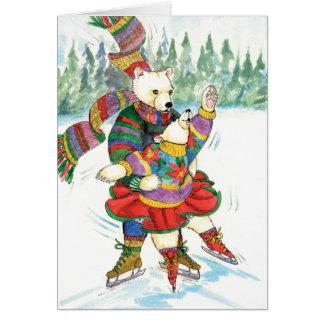 アイススケートの白くま カード