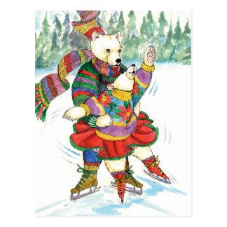 アイススケートの白くま ポストカード