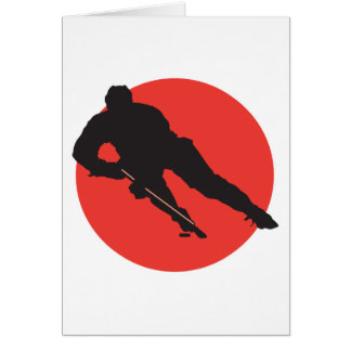 アイスホッケーのシルエットの赤い円のデザイン カード
