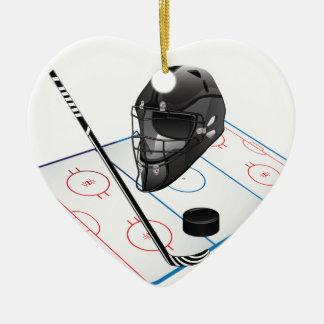 アイスホッケーのハートのオーナメント セラミックオーナメント