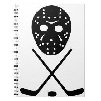 アイスホッケーの棒およびマスク ノートブック