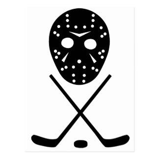 アイスホッケーの棒およびマスク ポストカード