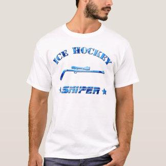 アイスホッケーの狙撃兵の青の迷彩柄 Tシャツ
