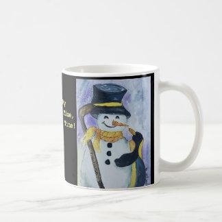 アイスホッケー用スティックのマグが付いているペンギンそして雪だるま コーヒーマグカップ