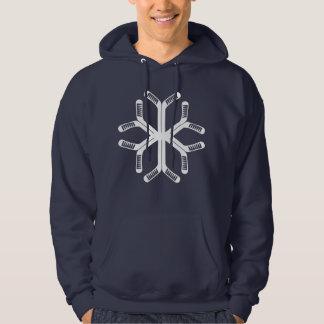 アイスホッケー用スティックの雪片のクリスマスのフード付きスウェットシャツ パーカ