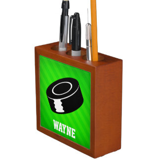 アイスホッケー用パック; ネオン緑のストライプ ペンスタンド