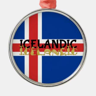 アイスランドのアイスランドの馬 の旗 シルバーカラー丸型オーナメント
