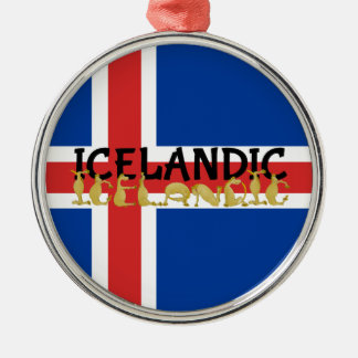 アイスランドのアイスランドの馬|の旗 メタルオーナメント