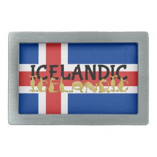 アイスランドのアイスランドの馬|の旗 長方形ベルトバックル