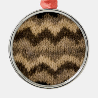 アイスランドのウールパターン シルバーカラー丸型オーナメント