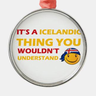アイスランドのスマイリーのデザイン シルバーカラー丸型オーナメント