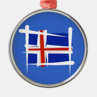 アイスランドのブラシの旗 シルバーカラー丸型オーナメント
