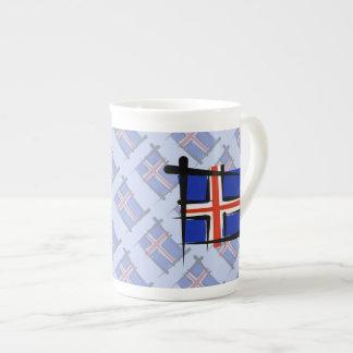アイスランドのブラシの旗 ボーンチャイナカップ