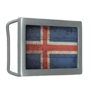 アイスランドの古い木の旗 長方形ベルトバックル