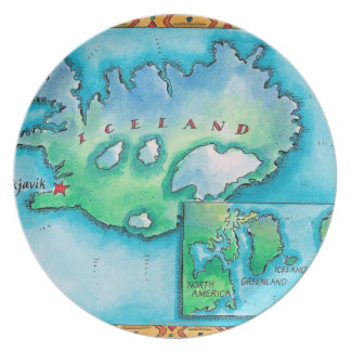 アイスランドの地図 プレート