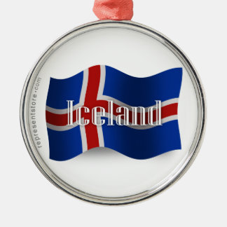 アイスランドの振る旗 シルバーカラー丸型オーナメント