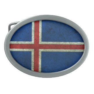 アイスランドの旗によって老化させる鋼鉄効果 卵形バックル